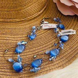 DABBY REID Three strand necklace sapphire blue NWT
